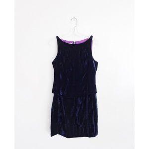 Vintage 80s 90s Dark Blue Velvet Top Skirt Set 8 M
